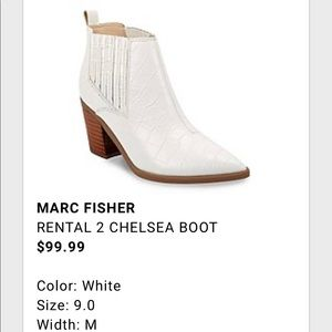 Marc Fisher white Rental 2 Chelsea bootie
